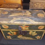Early Decorated Dome Top Box,  10 in. wide x 6 in. deep x 10 in. tall  SOLD! for $1,100.00